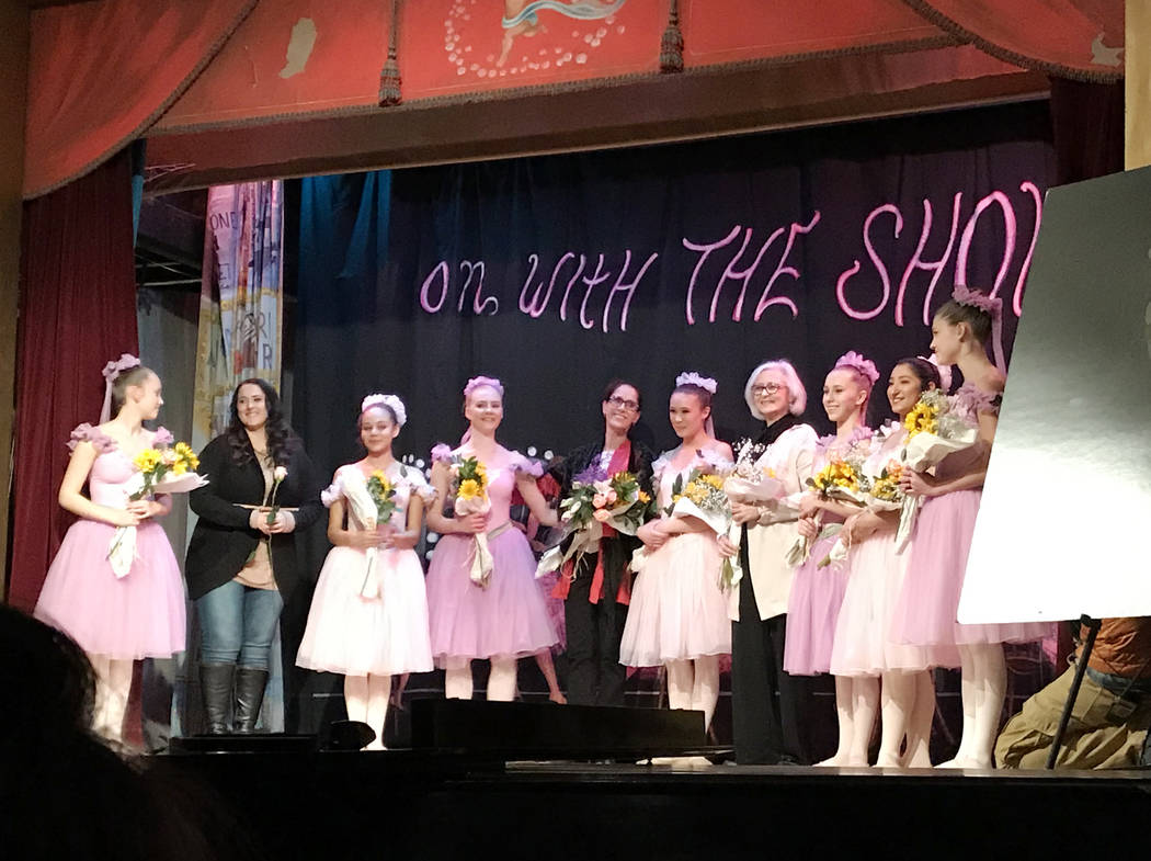 Robin Flinchum/Special to the Pahrump Valley Times All of the dancers on stage with Fossemalle, center, Corona to the left, not in costume; and Miller to the right, not in costume.