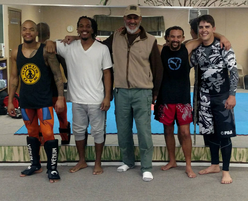 Special to the Pahrump Valley Times Andrew Gonzales, second from right, has been getting help from, from left, Diamante Williams, Rahshawn Bethea, Jose D. Hernandez and Josh McKillips to train fo ...