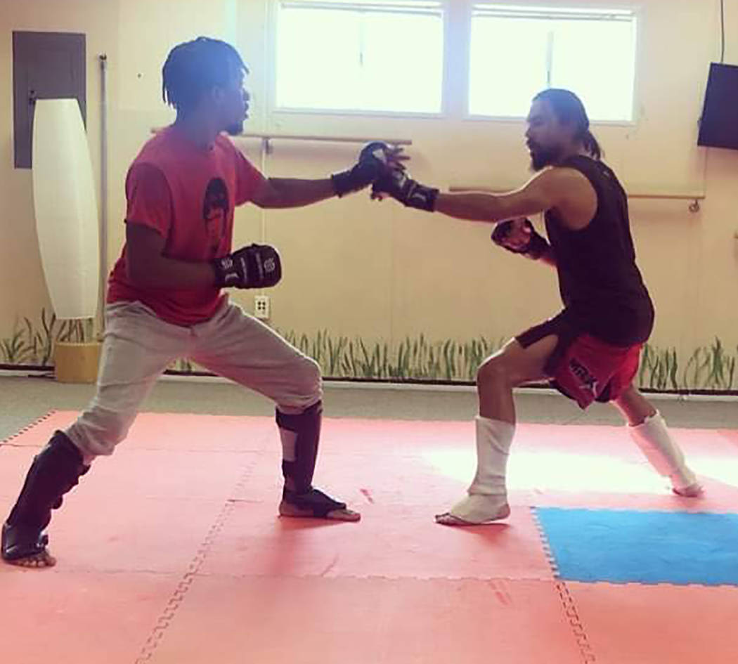 Special to the Pahrump Valley Times Pahrump resident Andrew Gonzales, right, spars with Rashawn Bethea in preparation for tonight's Tuff-n-Uff mixed martial arts bout at The Orleans in Las Vegas.