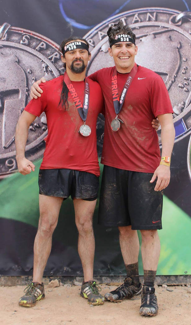 Special to the Pahrump Valley Times Andrew Gonzales, left, and Josh McKillips after they completed the Spartan Sprint Race in Arizona.