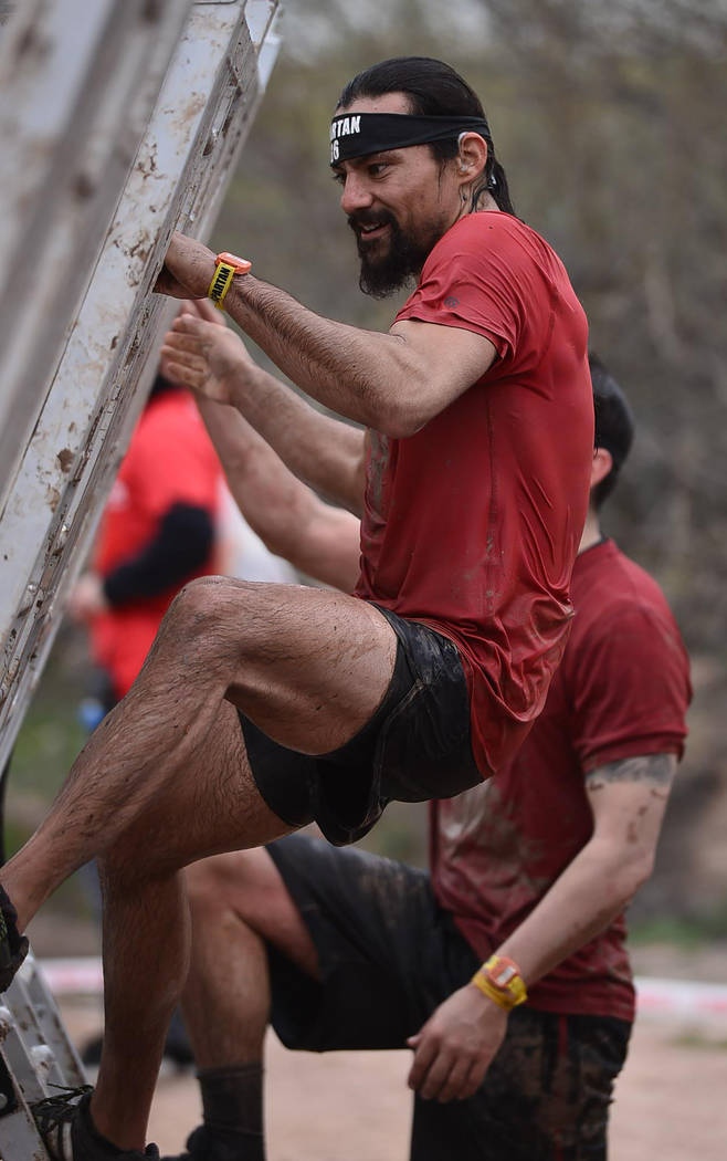 Special to the Pahrump Valley Times Andrew Gonzales of Pahrump at the Helix Wall during the Spartan Sprint Race in February in Arizona, something he did during training to get back into the mixed ...