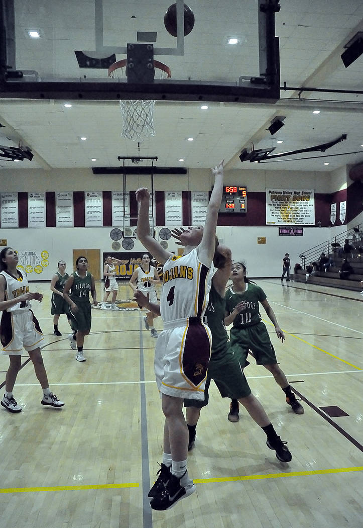 Horace Langford Jr./Pahrump Valley Times Sophomore guard Makayla Gent drives in for a layup Tuesday night for 2 of her 10 points in Pahrump Valley's 47-26 win over Virgin Valley in the Class 3A So ...
