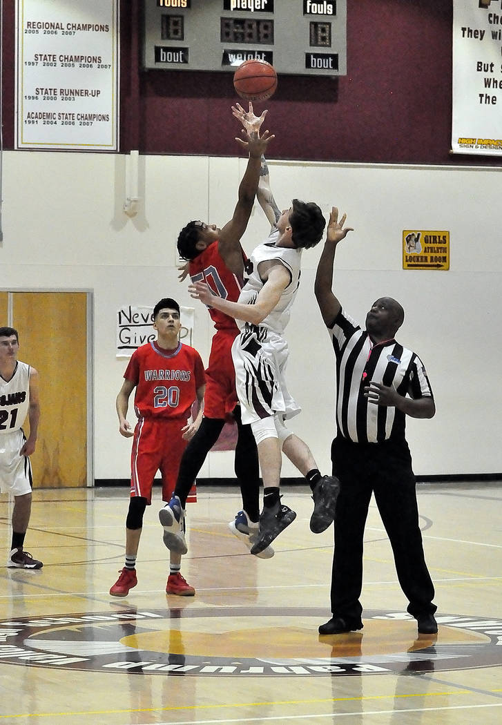 Horace Langford Jr./Pahrump Valley Times Pahrump Valley senior Chance Farnsworth goes up against Western on Feb. 11 in Pahrump. Farnsworth scored 16 points in the Trojans' 54-50 overtime win.