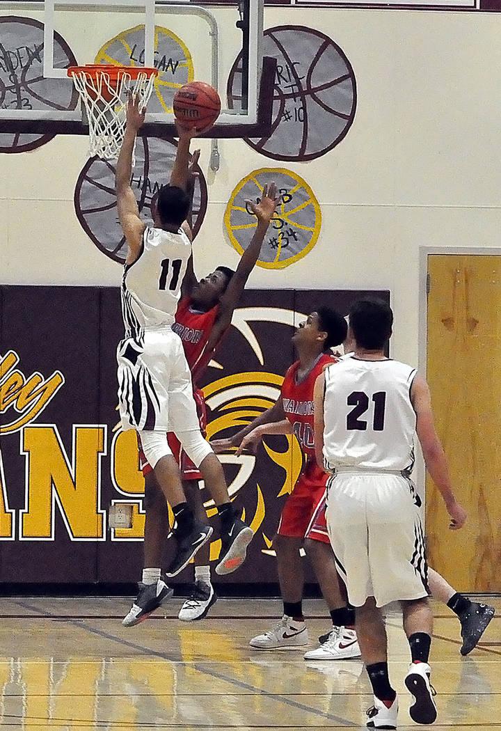 Horace Langford Jr./Pahrump Valley Times Senior Ethan Whittle goes up for a layup during Pahrump Valley's 54-50 victory over Western on Senior Night in Pahrump.