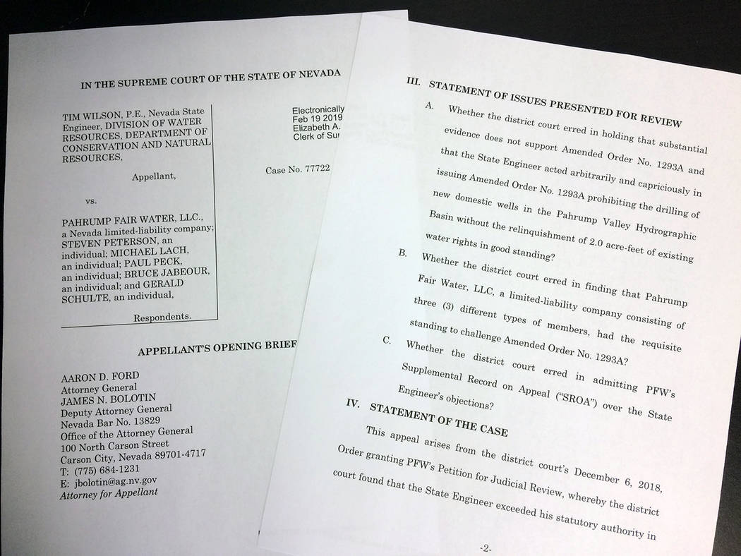 Robin Hebrock/Pahrump Valley Times Pictured are pages from the Nevada State Engineer's opening brief for its appeal in the case of water Order #1293A.