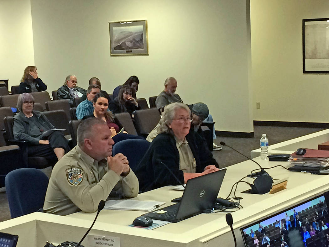 Robin Hebrock/Pahrump Valley Times Nye County Sheriff Sharon Wehrly, right, and lieutenant Harry Williams are pictured defending the sheriff's office's decision to deny Karl Mitchell a Special Con ...