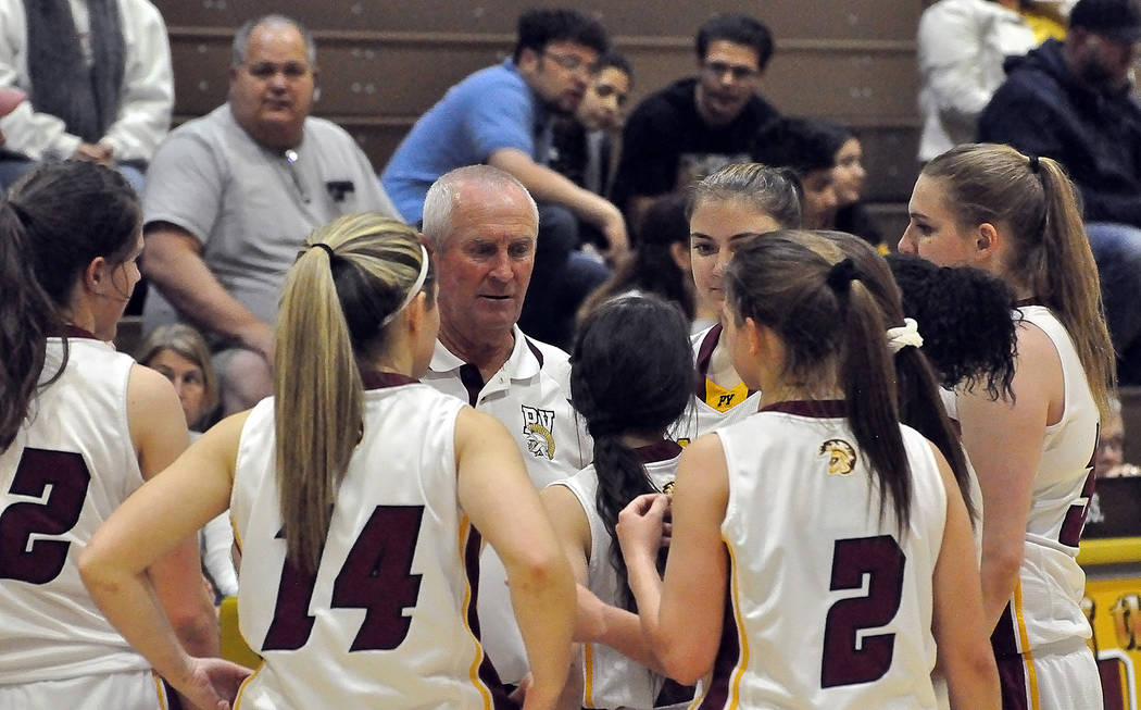 Horace Langford Jr./Pahrump Valley Times Pahrump Valley girls basketball coach Bob Hopkins said this year's Trojans play defense as well as any team he's ever had.