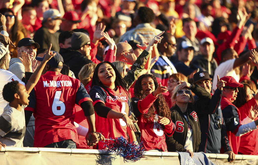 Chase Stevens/Las Vegas Review-Journal Fresno State fans were cheering during the Las Vegas Bowl in December at Sam Boyd Stadium, and the new Alliance of American Football hopes an enthusiastic cr ...