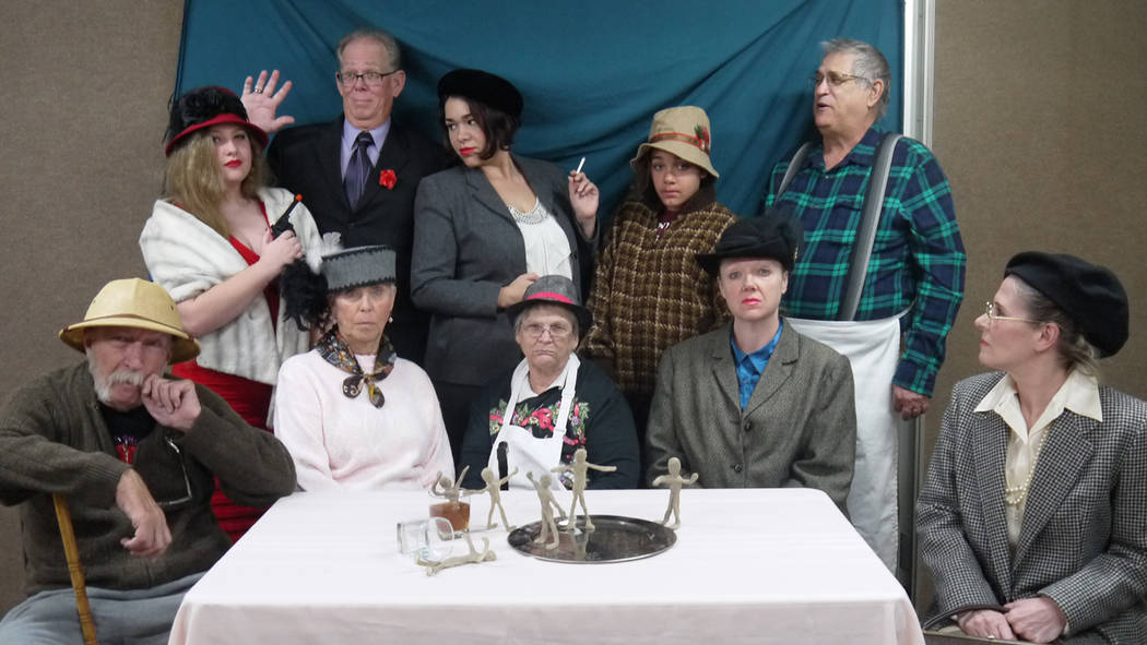 Laurie McCaslin/Special to the Pahrump Valley Times The cast of Ten Little Indians seated L-R, Carlton McCaslin, Maaike Matheson, Michelle Clines, Alicia Lewis, Sandi West standing L-R, Alyssia Mc ...