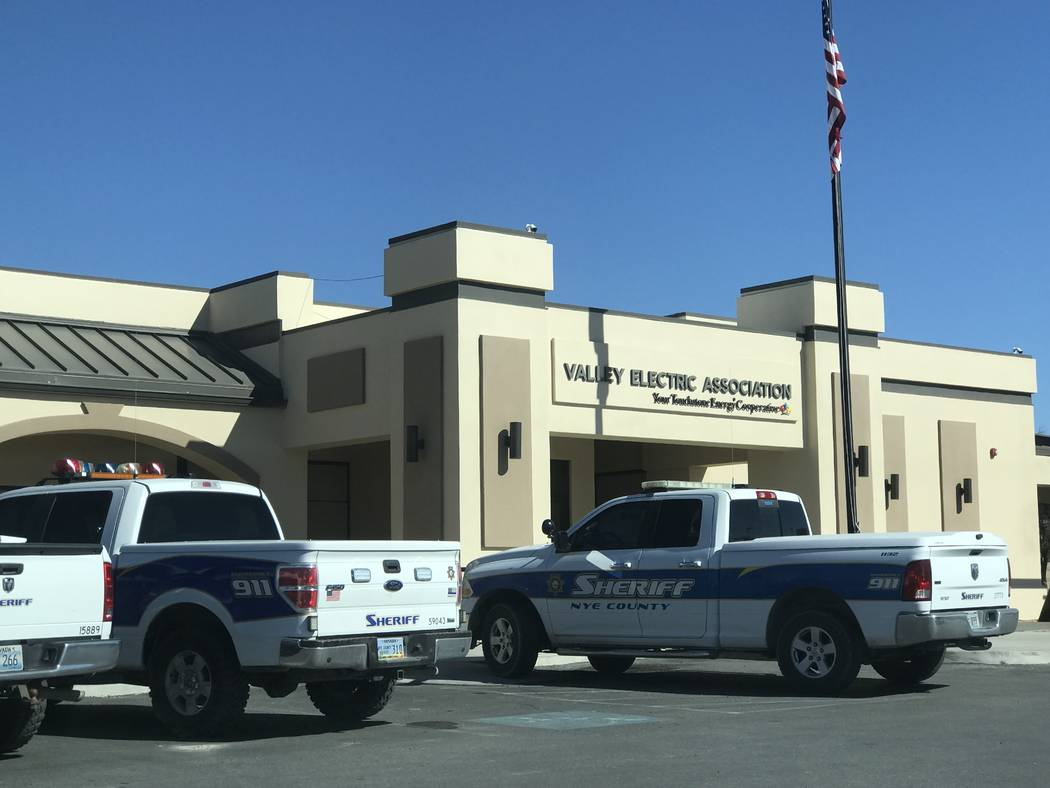 Jeffrey Meehan/Pahrump Valley Times The Nye County Sheriff's Office served a search warrant at Valley Electric Association at 800 E. Highway 372 in Pahrump on Feb. 22, 2019. A second search warran ...