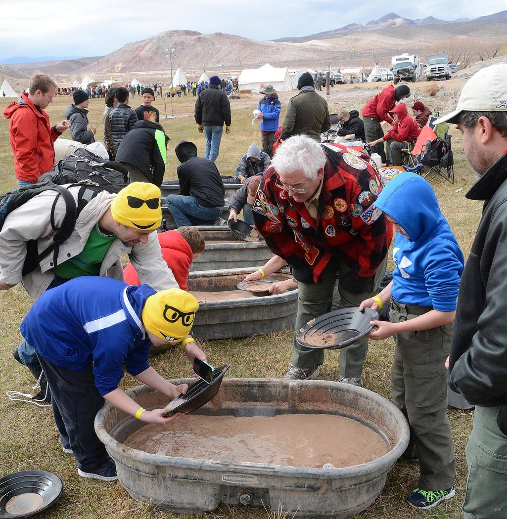 Richard Stephens/Special to the Pahrump Valley Times Boy Scouts pan for gold during the Mountain Man Rendezvous in Beatty in 2017.