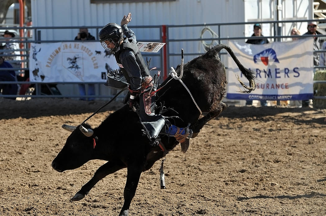 Horace Langford Jr./Pahrump Valley Times Pahrump Valley's Brandon Mountz extended his lead among junior high school bull riders by scoring both Saturday and Sunday at McCullough Arena in Pahrump.