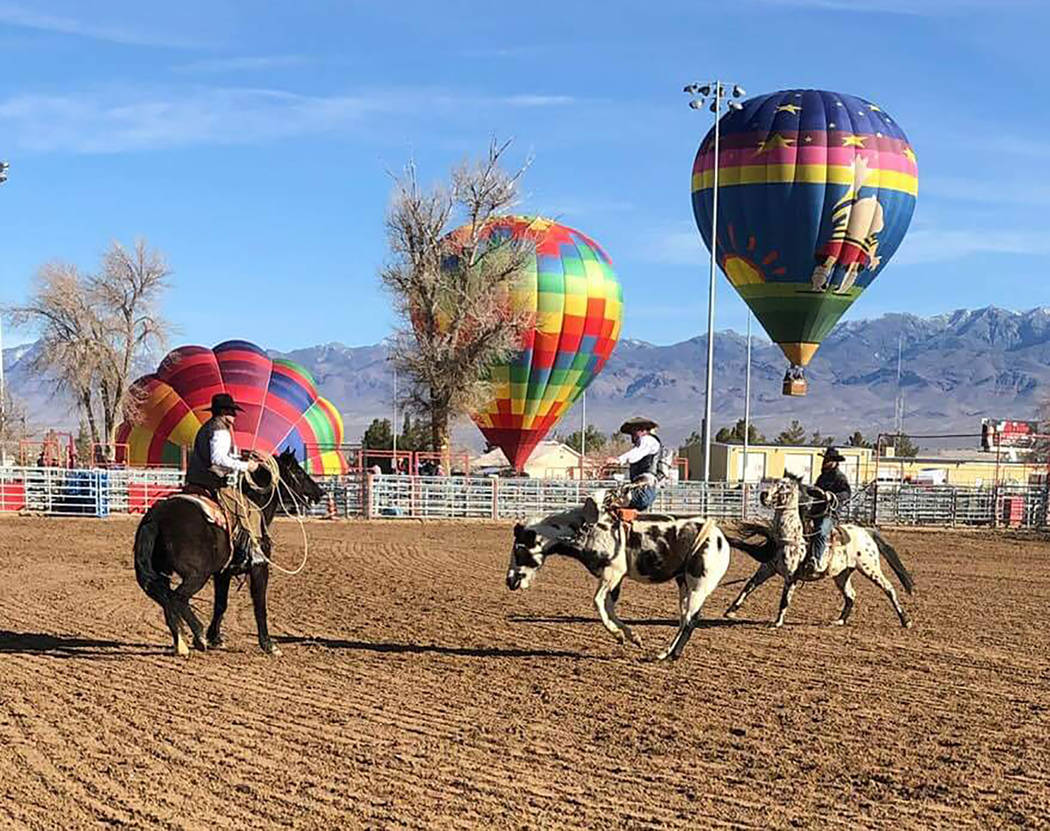 Buddy Krebs/Special to the Pahrump Valley Times Pahrump's turn to host the Nevada high school rodeo circuit Feb. 22-24 at McCullough Arena coincided with the annual balloon festival and carnival n ...