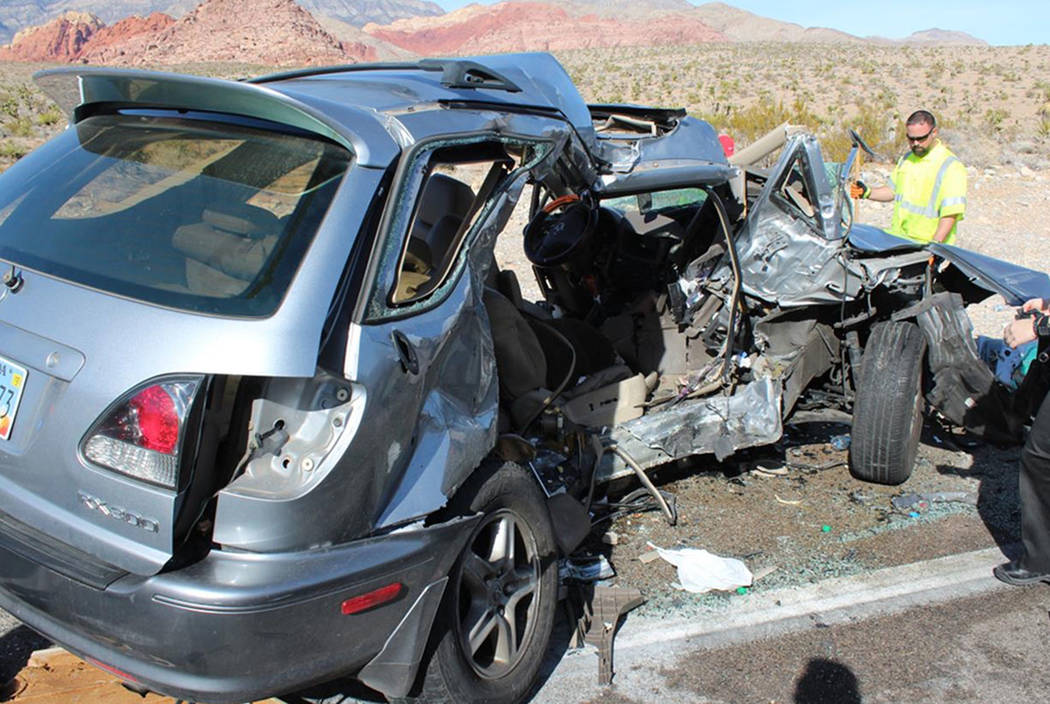 Two people died in a two-car crash on Sunday, Jan. 27, 2019, on state Route 159, near the entrance to the Red Rock Canyon National Conservation Area. (Nevada Highway Patrol)