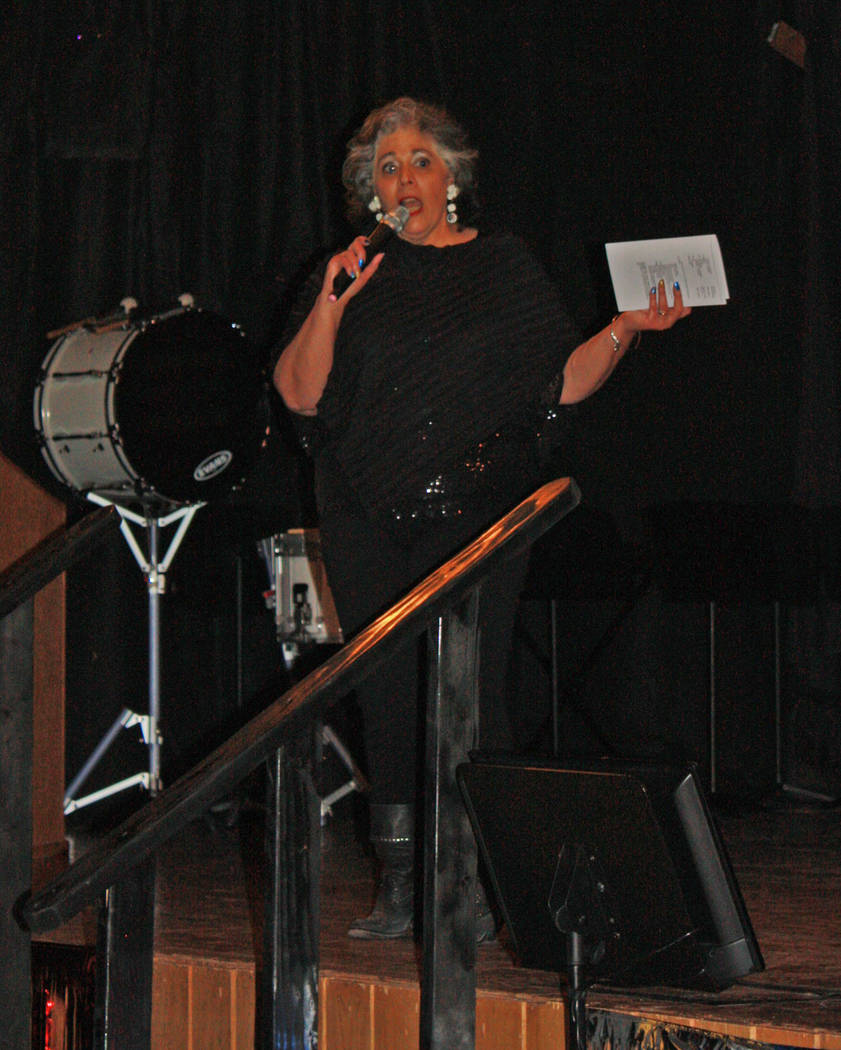 Robin Hebrock/Pahrump Valley Times Master of Ceremonies for the 7th Annual USO Show was Linda DeMeo, who brought laughter to the lips of the audience as she covered the transition between each act.