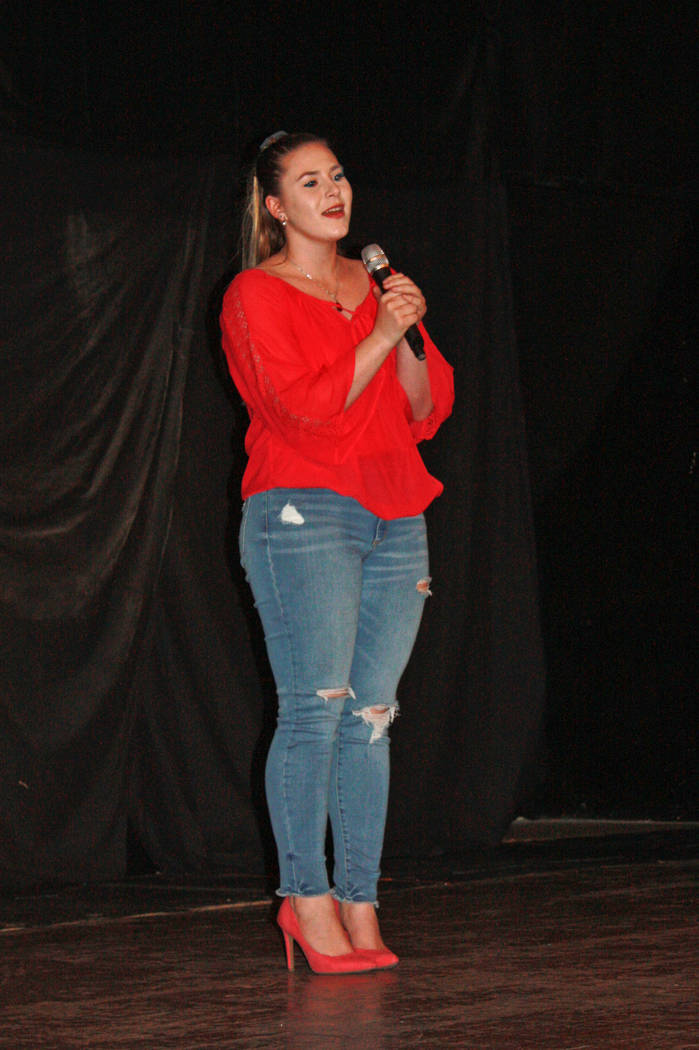 "Robin Hebrock/Pahrump Valley Times Remington Nicosia lent her voice to the USO Show, performing both the National Anthem and a song entitled ""The Climb."""