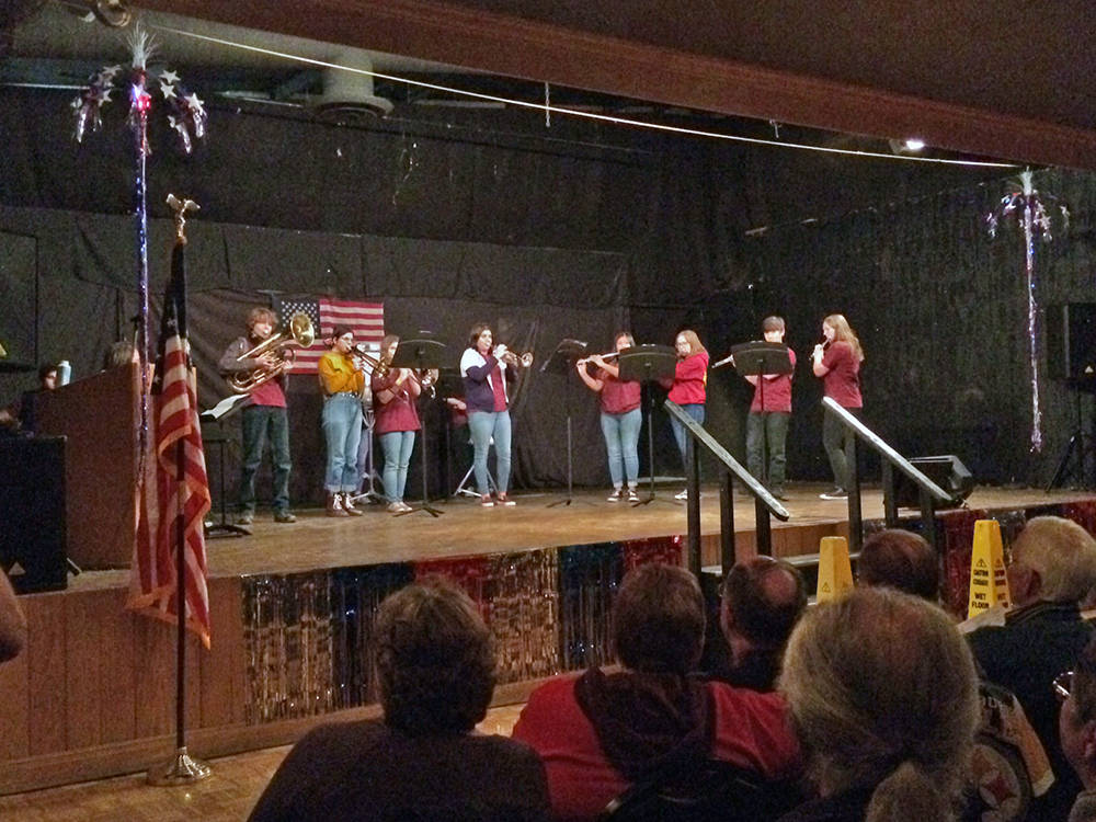 Robin Hebrock/Pahrump Valley Times The Pahrump Valley High School Band got in on the entertaining fun of the USO Show as well, performing a lively tune that had audience members bouncing in their ...