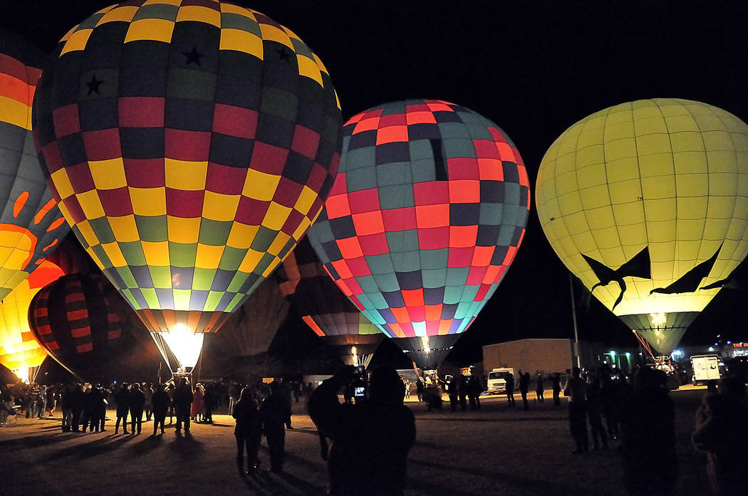 Horace Langford Jr./Pahrump Valley Times Captured the night of Saturday, Feb. 23, this photo shows the stunning sight at the Balloon Glow, one of the most anticipated portions of the yearly Balloo ...