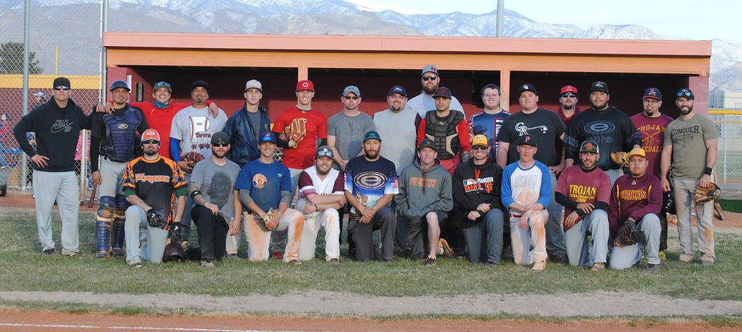 Charlotte Uyeno/Pahrump Valley Times Pahrump Valley High School baseball alumni returned to the school's field Saturday for the Maroon & Gold Day exhibition game and home run derby.