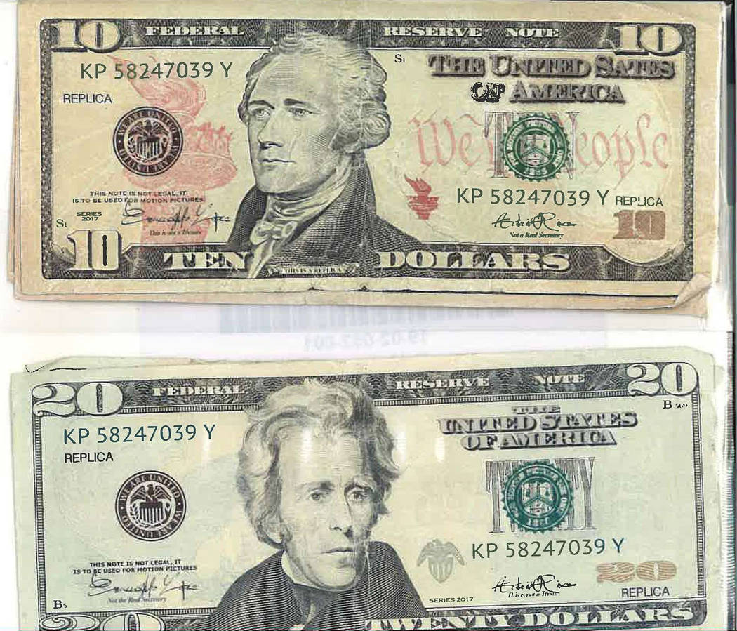 Special to the Pahrump Valley Times $10's and $20 dollar bills were passed off to two Lone Pine, California businesses in Inyo County last month. At closer inspection at the upper left, and lower ...