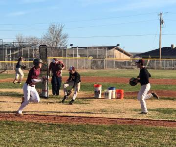 Tom Rysinski/Pahrump Valley Times Pahrump Valley High School baseball players participate in preseason practice Feb. 28 at the high school. The season opens this weekend at the Route 66 Tournament ...