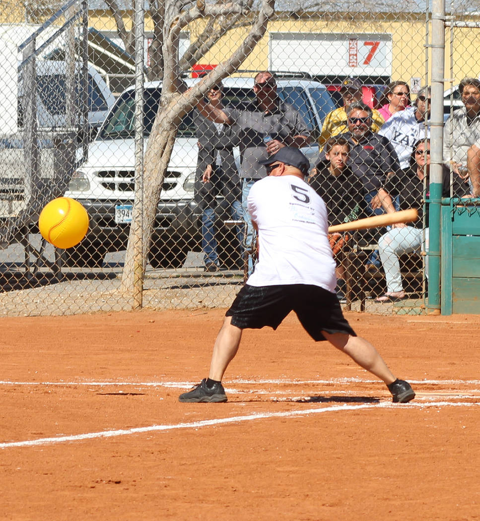 Tom Rysinski/Pahrump Valley Times Jason Sandoval has little trouble keeping his eye on the ball during Sunday's Batting 1.000 Challenge at Petrack Park.