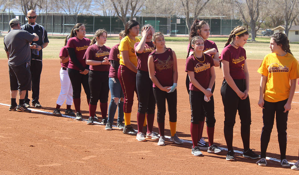 Tom Rysinski/Pahrump Valley Times The Pahrump Youth Softball Association All-Stars are introduced before the start of their game against the VFW/VFW Auxiliary, a fundraiser which brought in roughl ...