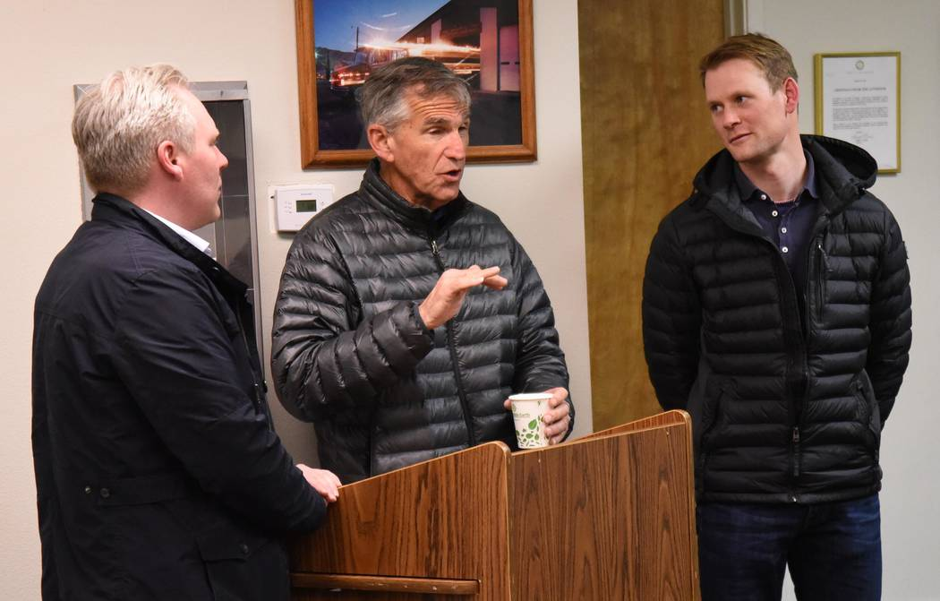 Richard Stephens/Special to the Pahrump Valley Times Ed Ringle introduces his assistants from the Netherlands, Gerwin Bax, left, and Niels Van Bavel, right.