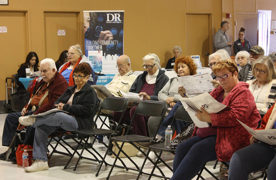 Robin Hebrock/Pahrump Valley Times Residents listen attentively as officials with P3 explaining the medical group's mission and services.