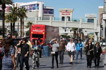 People on the Strip near Flamingo Road in Las Vegas, Thursday, Feb. 28, 2019. (Erik Verduzco/Las Vegas Review-Journal) @Erik_Verduzco