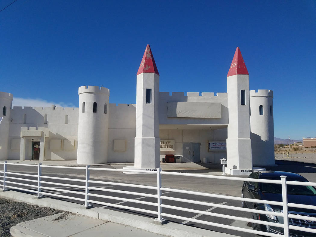 David Jacobs/Pahrump Valley Times A castle-style building at the corner of Homestead Road and Highway 160 is set for demolition. Construction was completed on the building in 2004, according to r ...