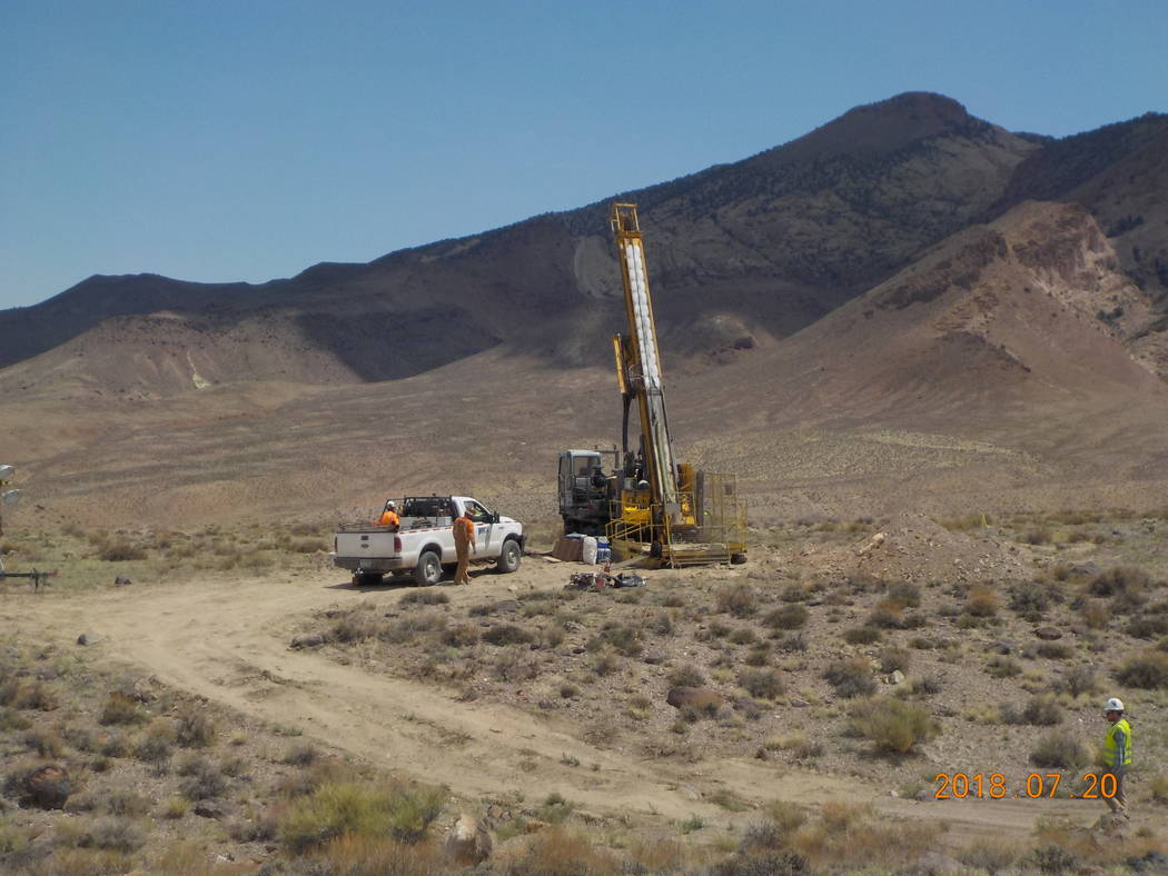 Special to the Pahrump Valley Times Drilling at Rhyolite Ridge South Basin in July 2018. Rhyolite Ridge could become a long-life, low-cost and highly-profitable mine of global significance.