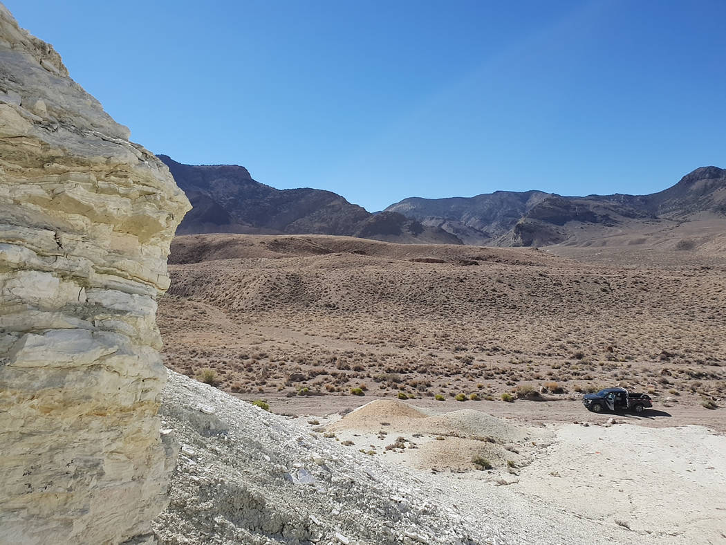 Special to the Pahrump Valley Times Rhyolite Ridge is located about 25 miles west of Albemarle Corporation's lithium mine in Clayton Valley near Silver Peak.