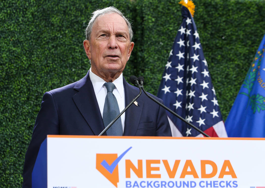Michael Bloomberg speaks at an event celebrating new background check legislation at the Keep Memory Alive Event Center in Las Vegas, Tuesday, Feb. 26, 2019. (Caroline Brehman/Las Vegas Review-Jou ...