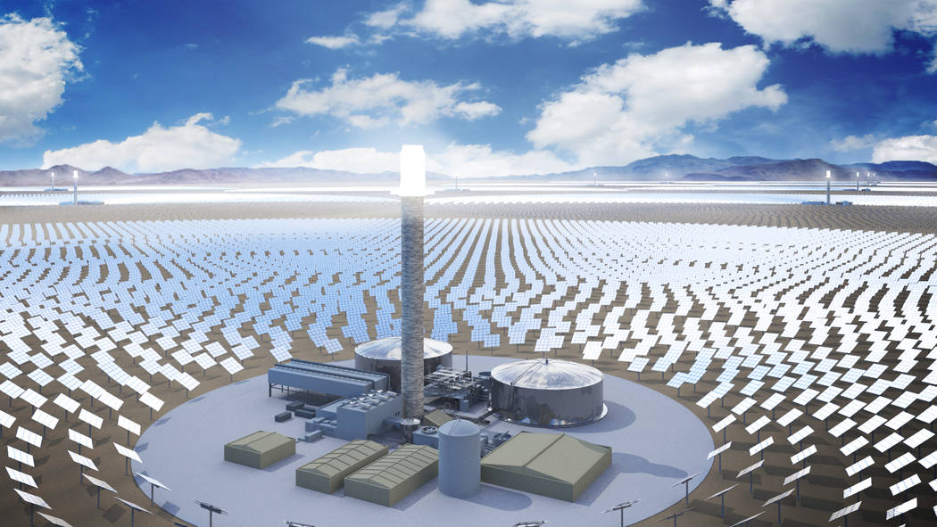 An artist rendering shows SolarReserve's Sandstone project, a $5 billion, 10-tower concentrated solar array the California-based company plans to build in Nevada. (Courtesy of SolarReserve/file)