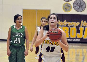 Horace Langford Jr./Pahrump Valley Times Sophomore forward Kate Daffer lines up a free throw during the Class 3A Southern Region playoffs against Virgin Valley. She scored 12 points in Pahrump Val ...