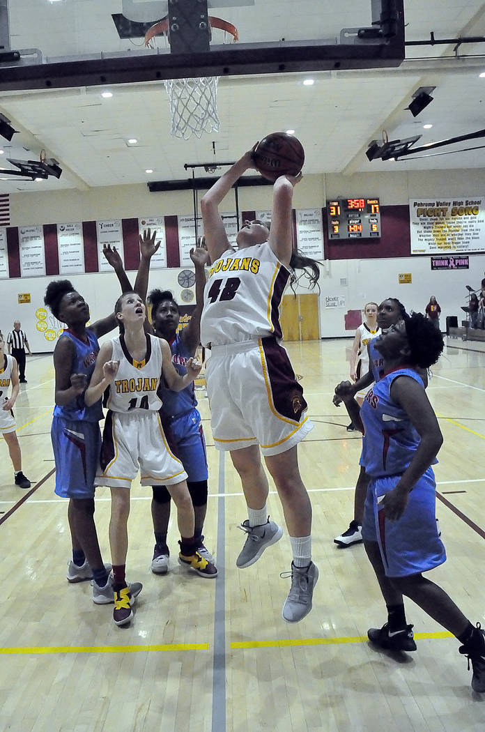 Horace Langford Jr./Pahrump Valley Times Sophomore Kate Daffer goes up for a 2 of her game-high 22 points during a 35-21 win over Western on Feb. 11. Daffer, Pahrump Valley's leading scorer and re ...