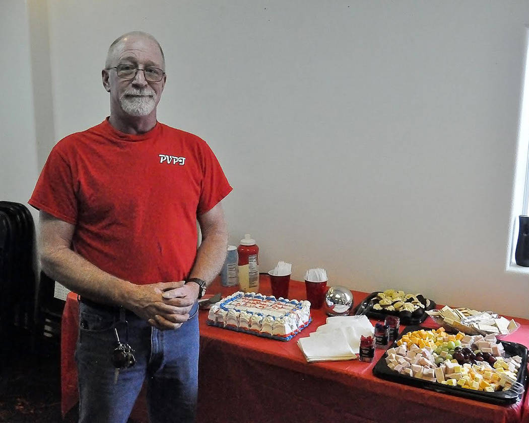 Horace Langford Jr./Pahrump Valley Times - Pahrump Valley Public Transportation Supervisor Eric Whalen shown at the celebration to commemorate the first year of full operations for the transit se ...