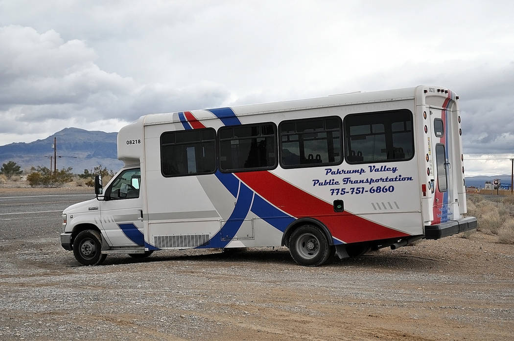 Horace Langford Jr./Pahrump Valley Times - Pahrump Valley Public Transportation utilizes several kinds of vehicles, including these easy-to-spot buses.