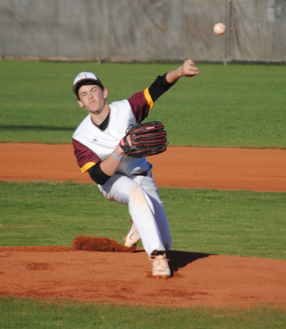 Charlotte Uyeno/Pahrump Valley Times Pahrump Valley pitcher Zack Cuellar struck out seven in four innings, allowing only an unearned run in a 6-1 win over Page, Arizona, on Friday in the Route 66 ...