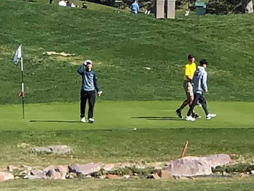 Tom Rysinski/Pahrump Valley Times Pahrump Valley's Garrett Ward, second from right, shaved 9 strokes off of his first day score during the second round of the Pahrump Valley Invitational on Friday ...