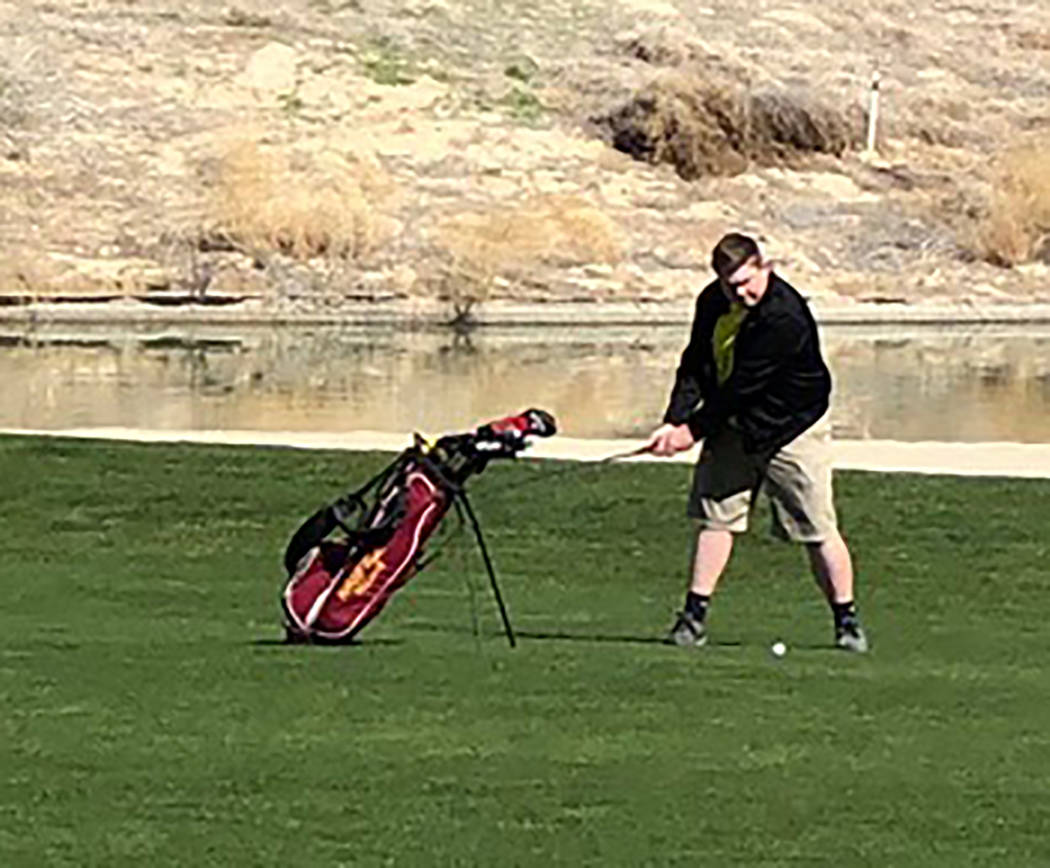 Tom Rysinski/Pahrump Valley Times Trevyn Wombaker posted identical rounds of 91 Friday and Saturday as the Pahrump Valley golf team opened its season at the 30th annual Pahrump Valley Invitational.