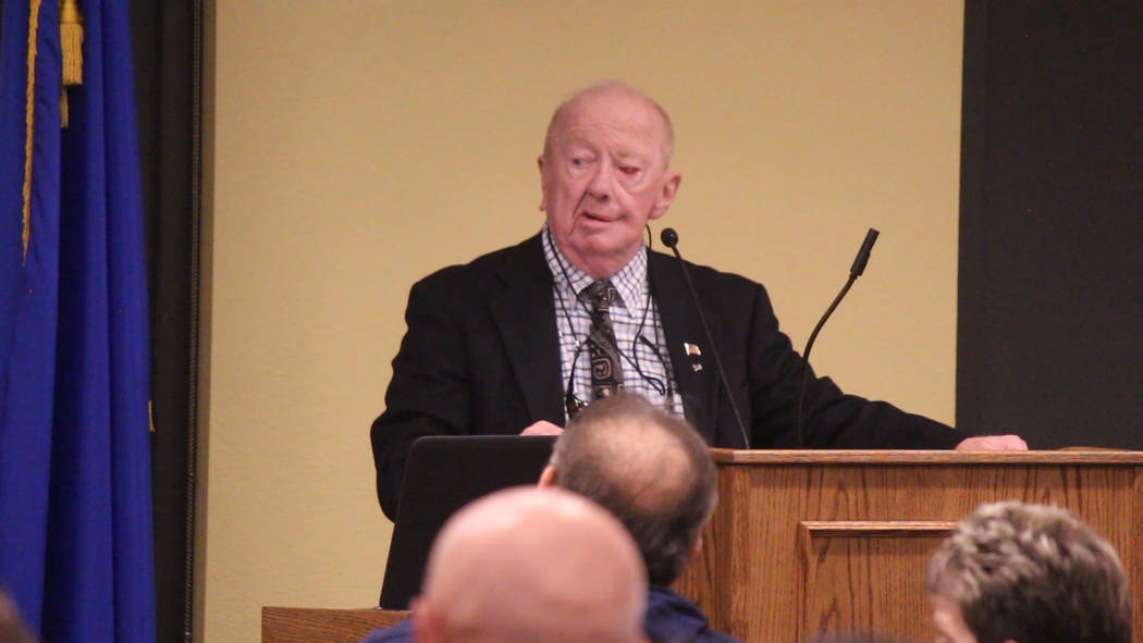 Jeffrey Meehan/Pahrump Valley Times Valley Electric Association's interim chief executive Richard Peck speaks to members during the annual District 1 meeting in Pahrump at Valley's conference cen ...