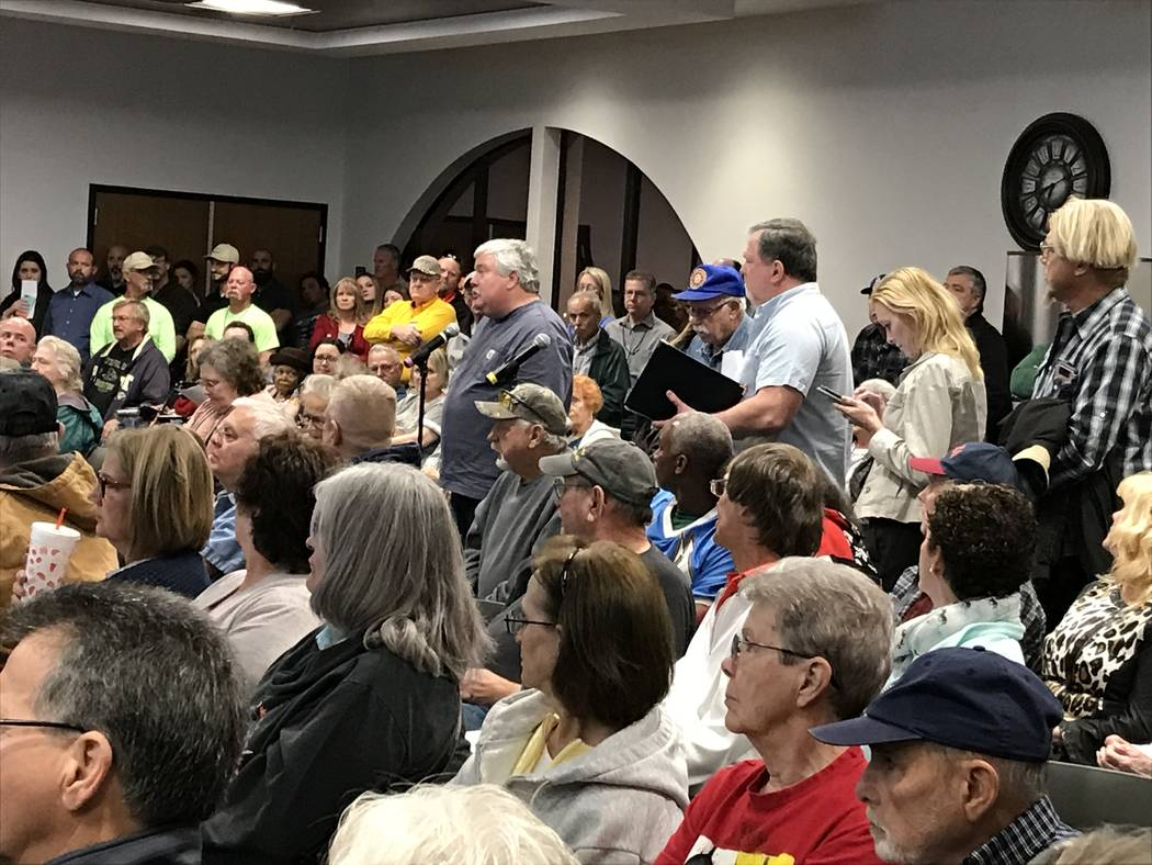 Jeffrey Meehan/Pahrump Valley Times Several member-owners of Valley Electric Association speak at Valley Electric Association's annual District 1 meeting during the public comment period. Many ra ...