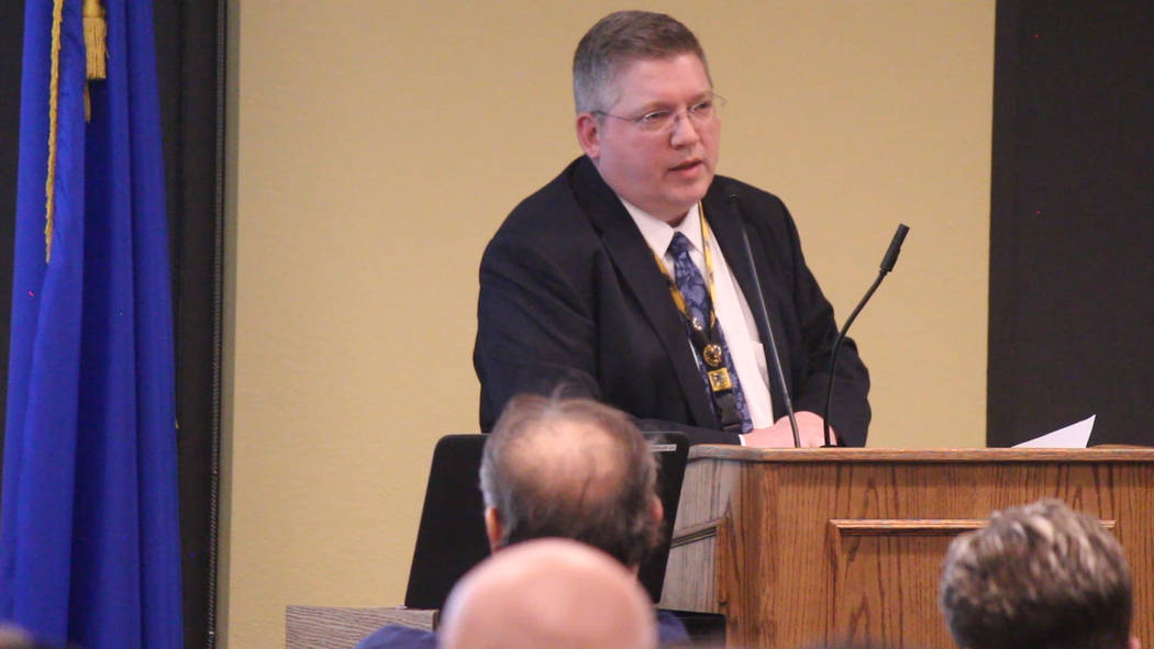 Jeffrey Meehan/Pahrump Valley Times Steve Morrison, chief financial officer at Valley Electric Association, speaks during the annual District 1 meeting on March 7, 2019. The meeting occurred at V ...