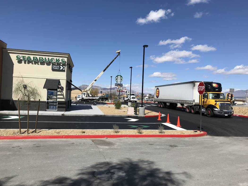 Terri Meehan/Special to the Pahrump Valley Times A new Starbucks at 460 S. Highway 160 is set to open its doors on March 25, 2019, according to signage in front of the under construction coffeehou ...