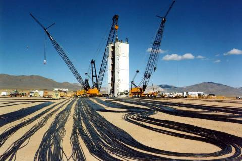 Special to the Pahrump Valley Times - This image from the National Nuclear Security Administration Nevada Site Office shows a temporary modular tower designed to hold the diagnostic rack for Icec ...