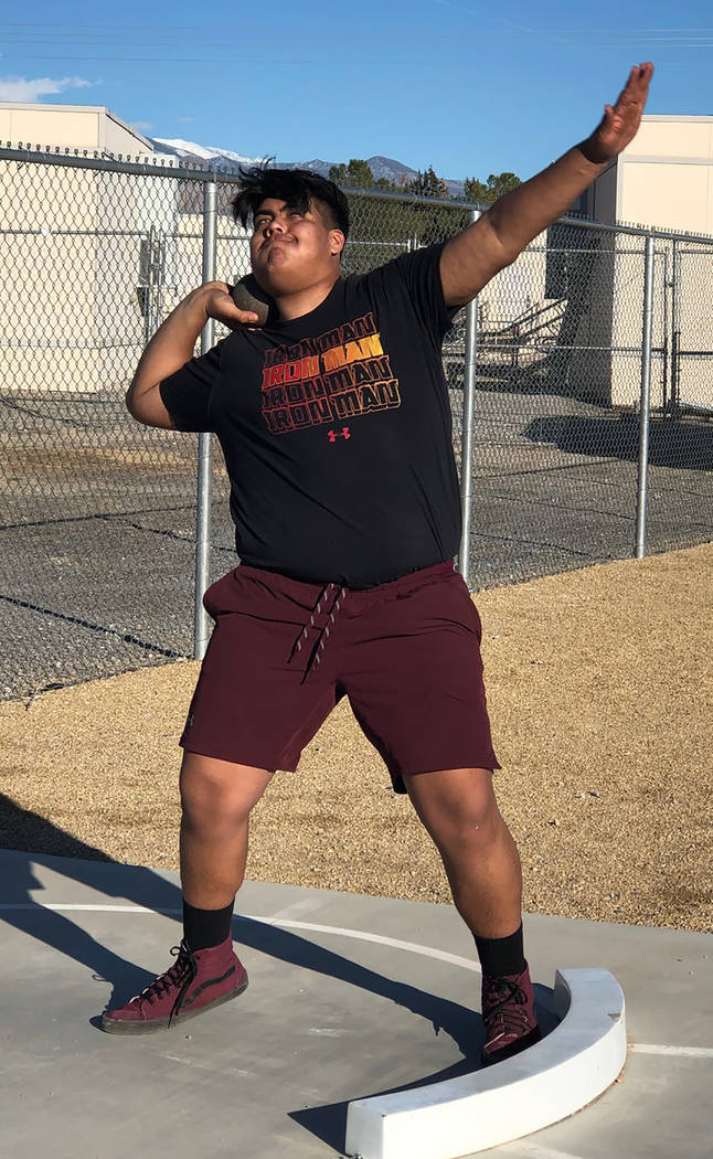 Tom Rysinski/Pahrump Valley Times Pahrump Valley junior Armani McGhee's throw of 36 feet, 11 inches in the shot put Tuesday at a weekday meet at Chaparral High School in Las Vegas was enough to qu ...