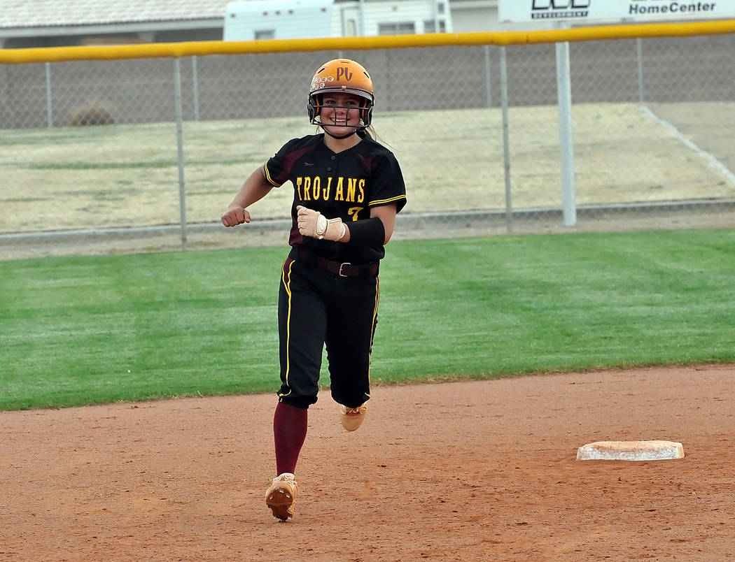 Horace Langford Jr./Pahrump Valley Times Pahrump Valley sophomore Ally Rily rounds the bases after belting a 3-run go-ahead home run during the fifth inning Monday against Boulder City.