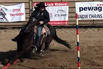 Special to the Pahrump Valley Times Pahrump Valley senior Kyrstyn Peugh competes in pole bending at a rodeo March 9 hosted by Fernley High School .